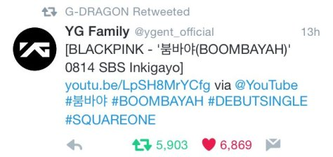 160814 gdragon blackpink RT2