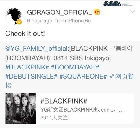 160814 gdragon blackpink weibo2