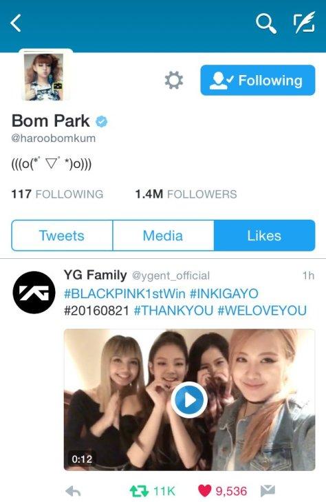 160821 bom twitter like blackpink