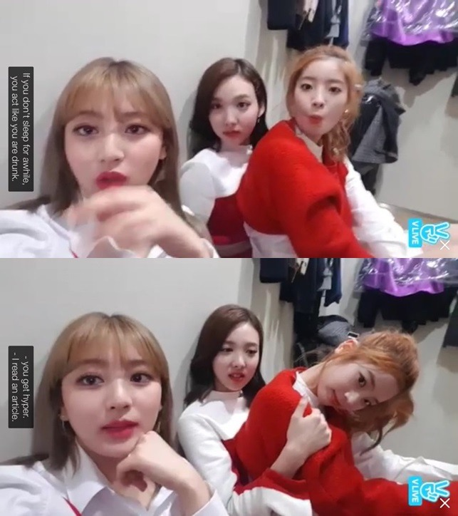 [NEWS] 161106 Twice toys around with Black Pink's 'Playing with Fire' on VLIVE/VApp
