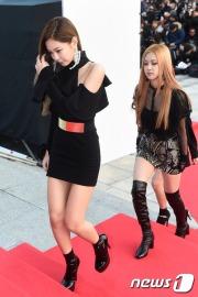 블랙핑크 제니, 로제(오른쪽)이 16일 오후 서울 경희대학교 평화의전당에서 열린 '2016 아시아 아티스트 어워즈(Asia Artist Awards / 이하 AAA)' 시상식에 참석해 레드카펫을 밟고 있다.
