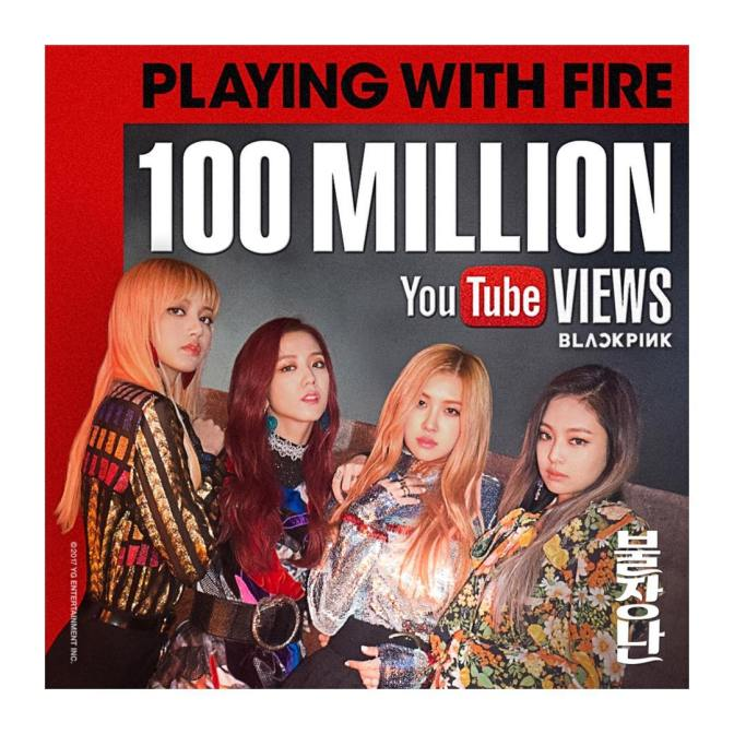 "[YG-LIFE] 170411 BLACKPINK's ""PLAYING WITH FIRE"" MV Posts 100 million Views in Addition to ""BOOMBAYAH"""