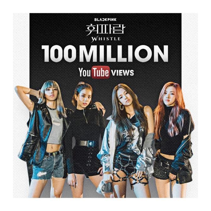 "[YG-LIFE] 170415 BLACKPINK's ""WHISTLE"" MV Surpasses 100 Million Views in the Shortest Time"
