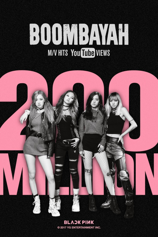 "[YG-LIFE] 170814 BLACKPINK's ""BOOMBAYAH"" MV Surpassed 200 Million Views, Set Another Unprecedented Record"