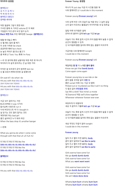 Microsoft Word - 뚜두뚜두, Forever Young 응원법.docx