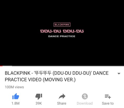 180904 blackpink dddd dance practice 100m youtube views