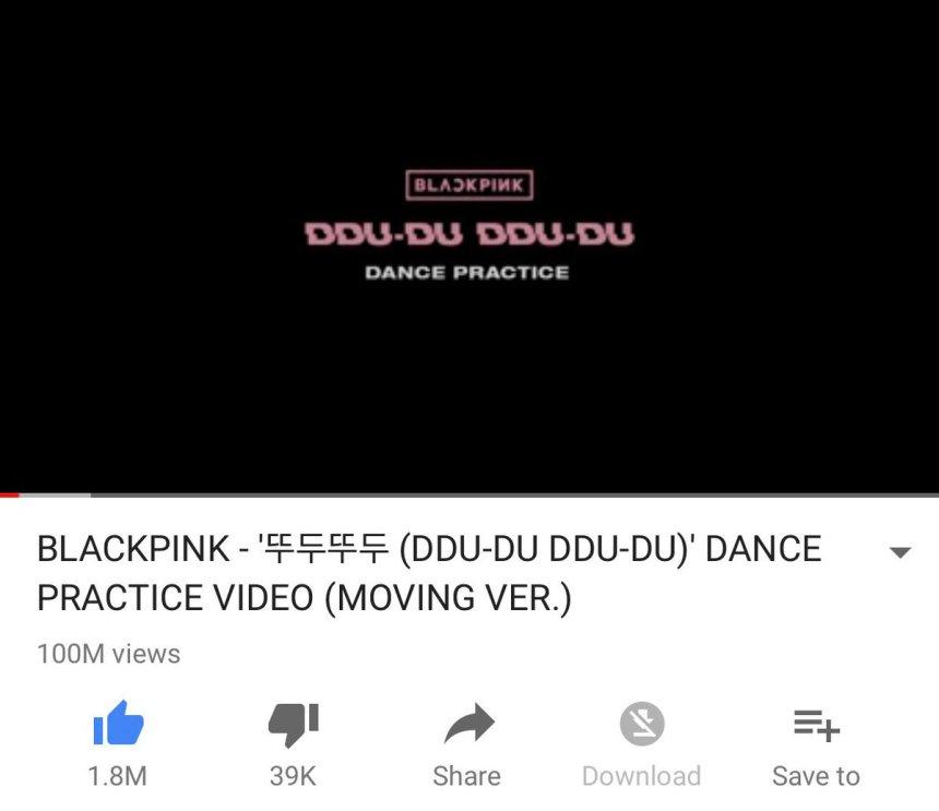 180904 blackpink dddd dance practice 100m youtube views